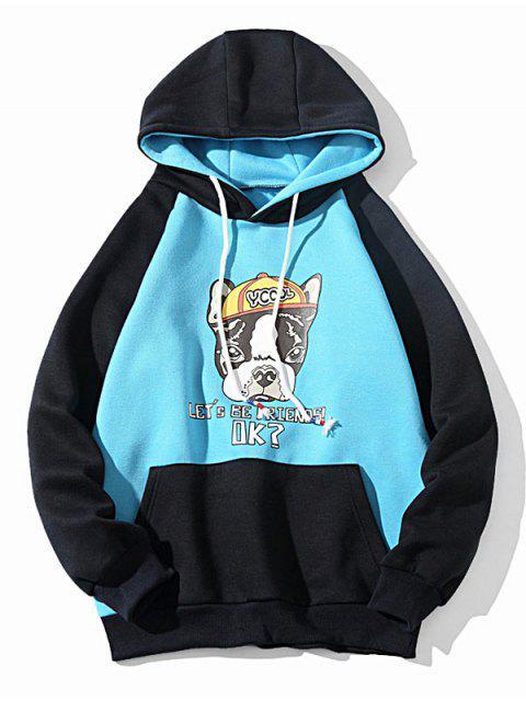 Carta Perro de la historieta con cordón colorblock Imprimir Fleece con capucha - Celeste S Mobile