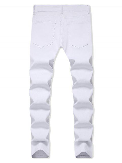 fancy Solid Color Ripped Design Zip Fly Jeans - WHITE 38 Mobile