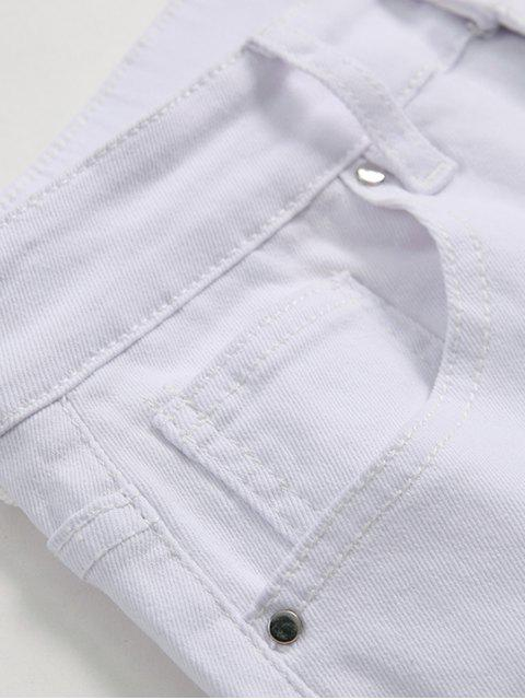 online Solid Color Ripped Design Zip Fly Jeans - WHITE 32 Mobile