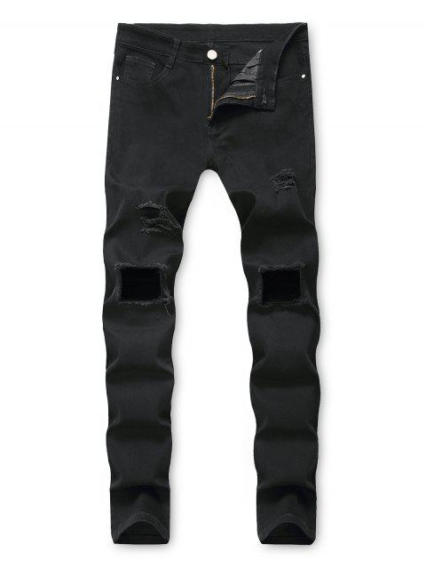 outfit Solid Color Hole Destroyed Decorated Jeans - BLACK 34 Mobile