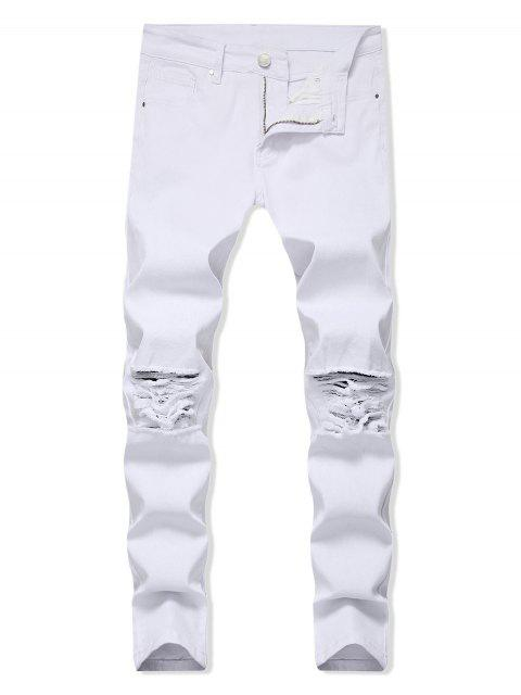 trendy Solid Color Ripped Design Zip Fly Jeans - WHITE 34 Mobile