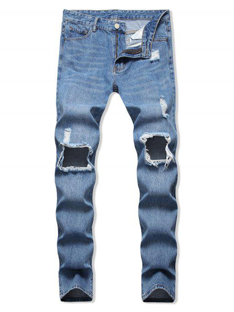 Destruidas Casual Jeans Agujero Decorado - Azul Denim 36 Mobile