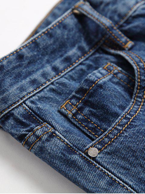 Agujero rasgado Decorado Zip Fly Casual Jeans - Azul 40 Mobile