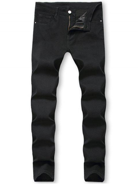latest Casual Solid Color Zip Fly Jeans - BLACK 36 Mobile