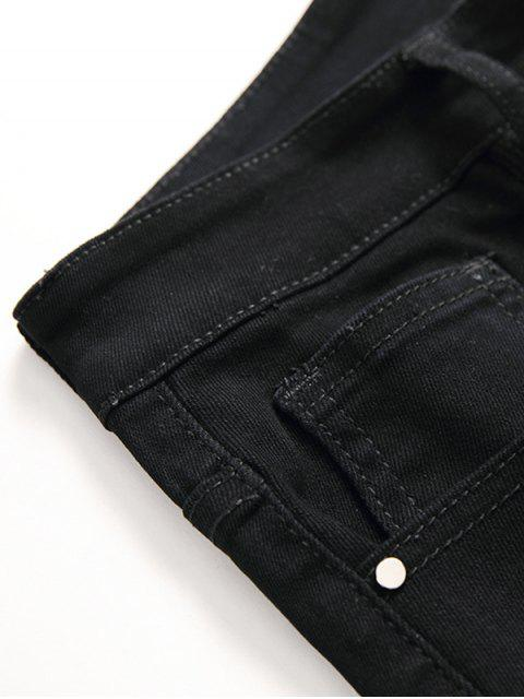 trendy Casual Solid Color Zip Fly Jeans - BLACK 38 Mobile
