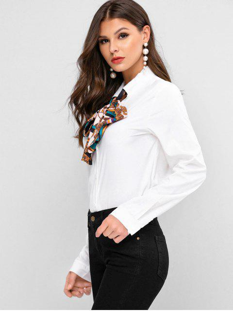 best Scarf Print Bow Tie Button Front Shirt - WHITE M Mobile