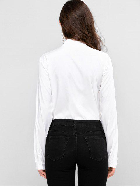 trendy Scarf Print Bow Tie Button Front Shirt - WHITE XL Mobile