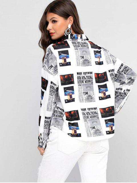 unique ZAFUL High Low Drop Shoulder Newspaper Shirt - MULTI L Mobile