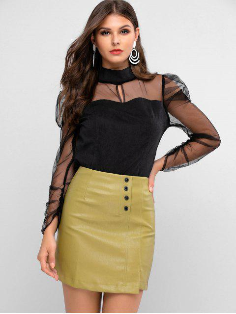 trendy ZAFUL Mock Neck Sheer Mesh Panel Puff Sleeve Blouse - BLACK XL Mobile