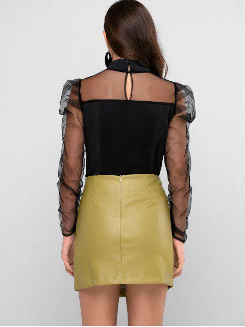 outfits ZAFUL Mock Neck Sheer Mesh Panel Puff Sleeve Blouse - BLACK L Mobile