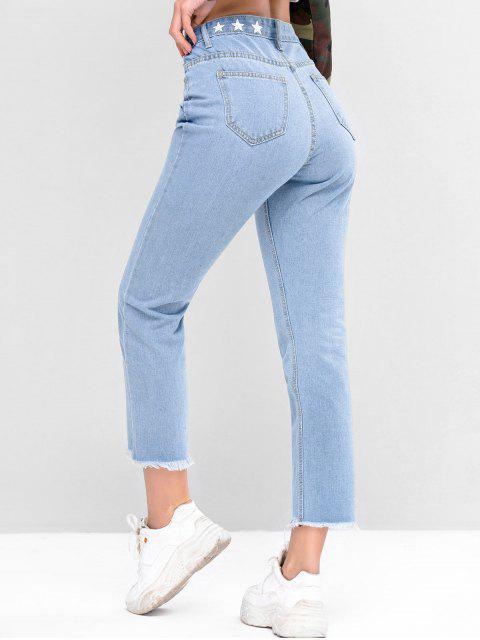Gráfico de la estrella raído Bajo recto Jeans - Azul Denim L Mobile