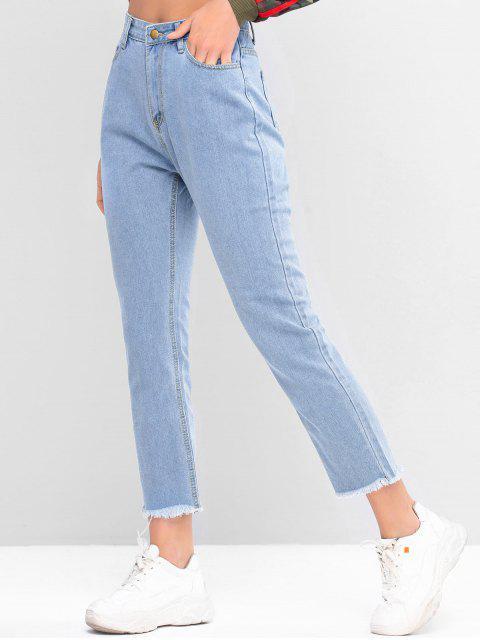 Stern Graphik Gerade Jeans mit Ausgefranstem Saum - Denim Blau XL  Mobile