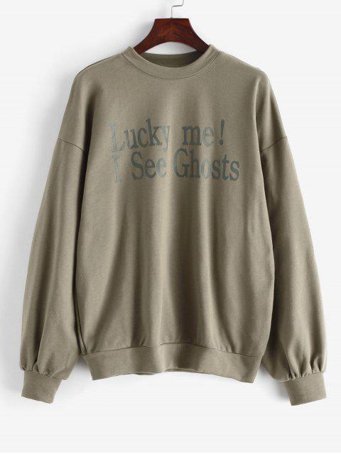 Weites Sweatshirt mit Slogan Druck und Drop Schulter - Armeegrün L Mobile