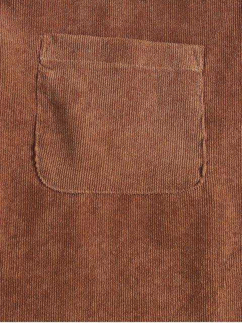 Mini Knöpfen Trägerkleid aus Cord - Braun M Mobile