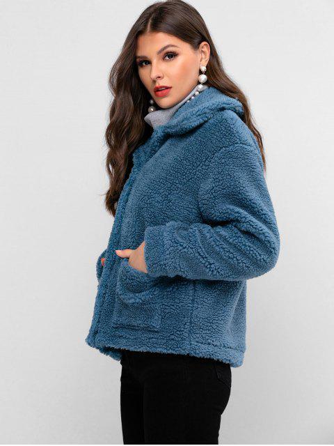 ZAFUL Mantel aus Kunstpelz mit Zwei Taschen und Druckknopf - Blaugrau XL Mobile