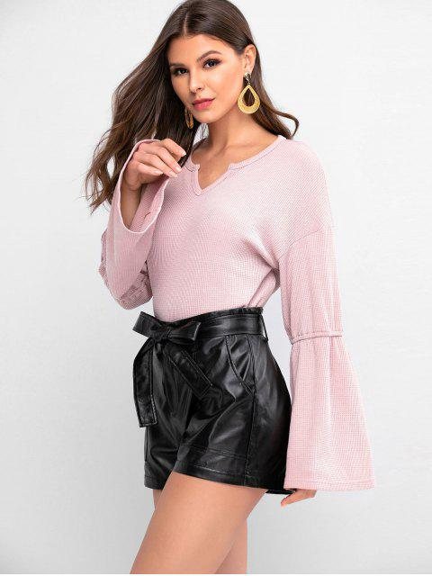 women ZAFUL Flare Sleeves Solid V Neck Knitwear - ROSE L Mobile