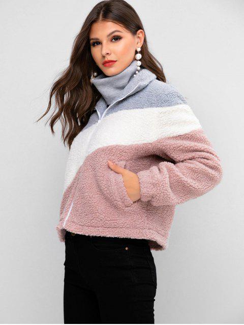 ZAFUL Taschen Farbblock Teddy mit Reißverschluss - Rosa Rose L Mobile