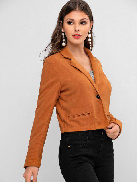 hot ZAFUL One Button Lapel Faux Suede Jacket - TIGER ORANGE XL Mobile