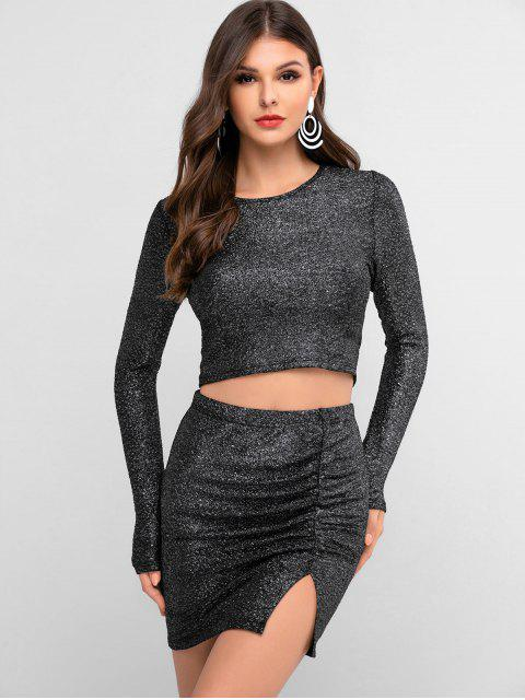 affordable ZAFUL Metallic Thread Ruched Slit Bodycon Skirt Set - MULTI-A M Mobile