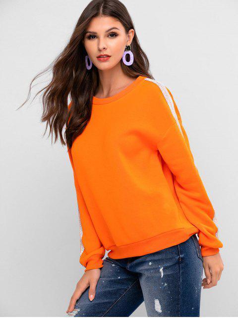 ZAFUL Sweat-shirt Pull-over à Goutte Epaule avec Strass - Orange Mangue S Mobile