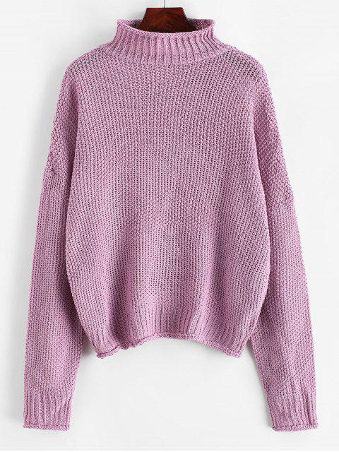 best Mock Neck Drop Shoulder Cuffed Edge Jumper Sweater - PURPLE M Mobile