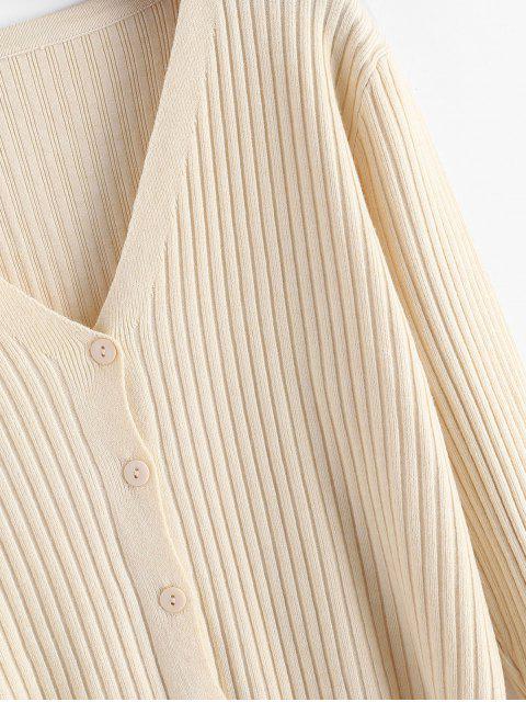 Rüschen Saum-Gewellte Taste Vorderes Strickjacke - Warmweiß Eine Größe Mobile