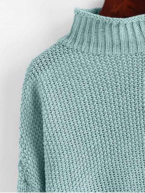 chic Mock Neck Drop Shoulder Cuffed Edge Jumper Sweater - CYAN OPAQUE L Mobile
