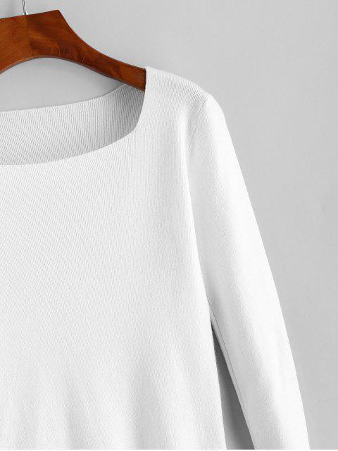 Quadrat-Ansatz Dünne Strickpullover - Weiß Eine Größe Mobile