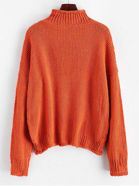 Stehkragen Tropfen Schulter Manschettenkante-Jumper Pullover - Orange XL  Mobile