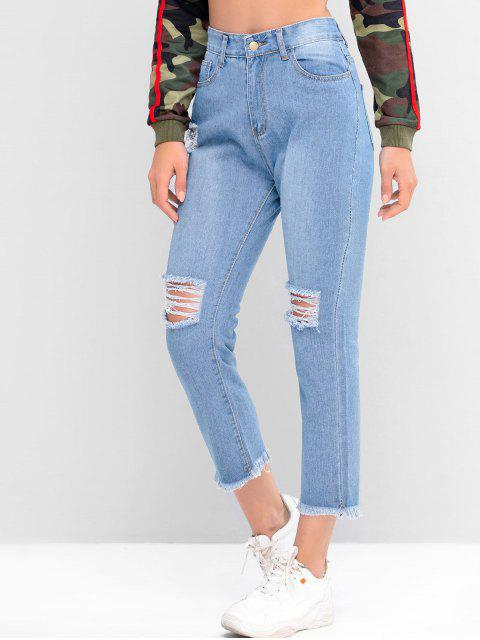 Alte Tapered Jeans mit ausgefranstem Saum - Denim Blau S Mobile