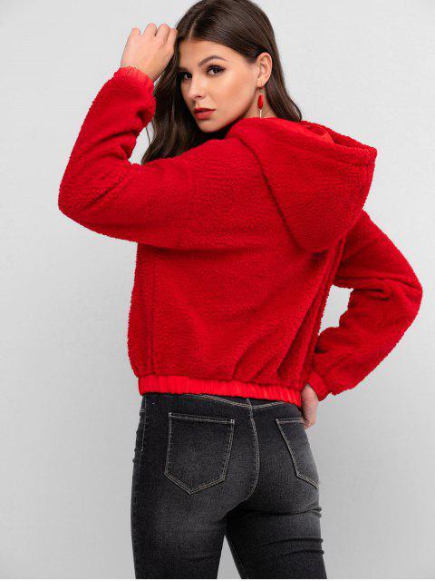 ZAFUL Halber ReißverschlussEinfarbigeSherpa Hoodie mit Taschen - Rot S Mobile