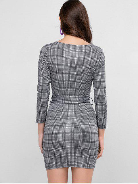 ZAFUL Houndstooth Belted Bodycon Minikleid - Dunkelgrau L Mobile