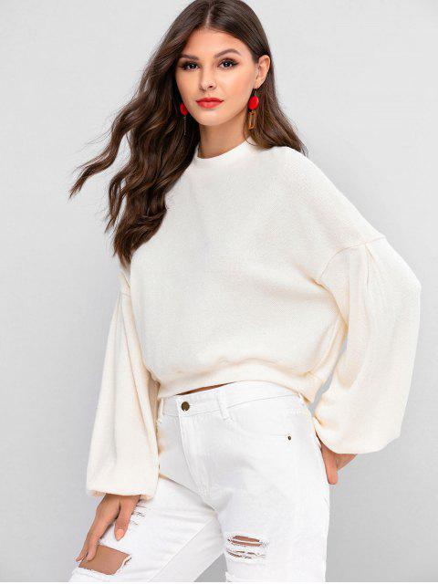 ZAFULランタン袖ドロップショルダークルーネックセーター - 暖かい白 M Mobile