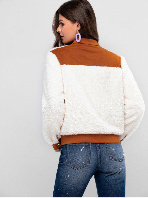 ZAFUL Snap-Taste Kontrast Taschen Teddy Jacke - Weiß XL Mobile
