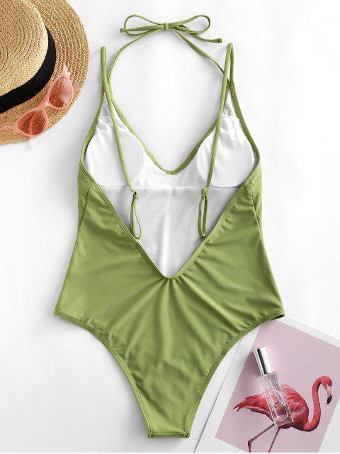 womens ZAFUL Halter High Cut Open Back One-piece Swimsuit - LIGHT GREEN S Mobile