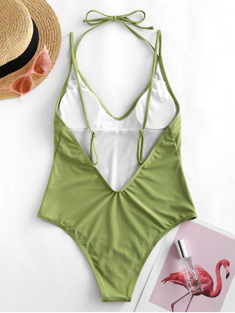 hot ZAFUL Halter High Cut Open Back One-piece Swimsuit - LIGHT GREEN L Mobile