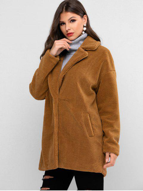 ZAFUL Manteau Long Goutte Epaule en Fausse Fourrure - Marron Camel S Mobile
