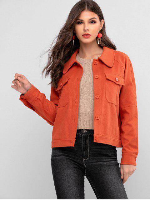 ZAFUL插肩袖口袋按鈕向上大衣 - 橙子 L Mobile