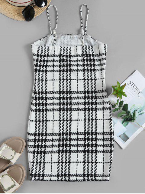 ZAFUL Hahnentrittdruck Mini Cami Kleid - Weiß S Mobile