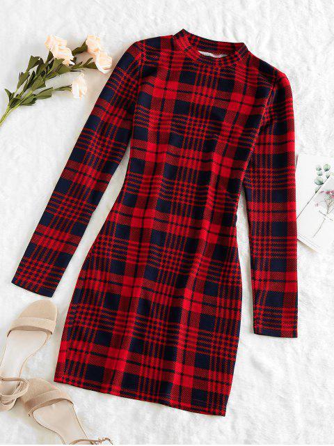 ZAFUL Mini Robe Moulante à Carreaux de Grille - Rouge Cerise L Mobile