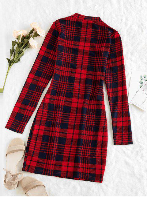 new ZAFUL Plaid Houndstooth Bodycon Mini Dress - CHERRY RED S Mobile