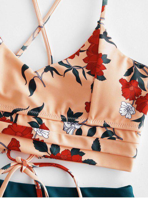 ZAFUL floral entrecruzado con cordones de Tankini del traje de baño - Sandy Brown L Mobile