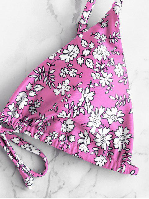 ZAFUL Maillot de Bain Bikini Rembourré Fleuri Imprimé à Cordon - Multi-C M Mobile