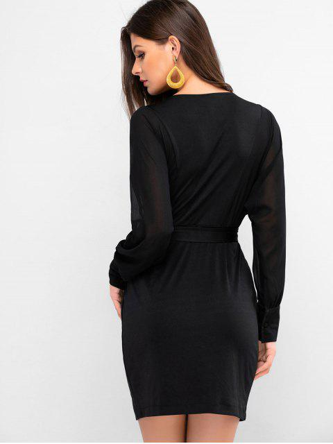 lady Chiffon Sleeve Plunge Belted Fitted Dress - BLACK M Mobile
