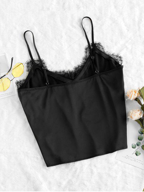 shops ZAFUL Eyelash Lace Cami Top - BLACK XL Mobile