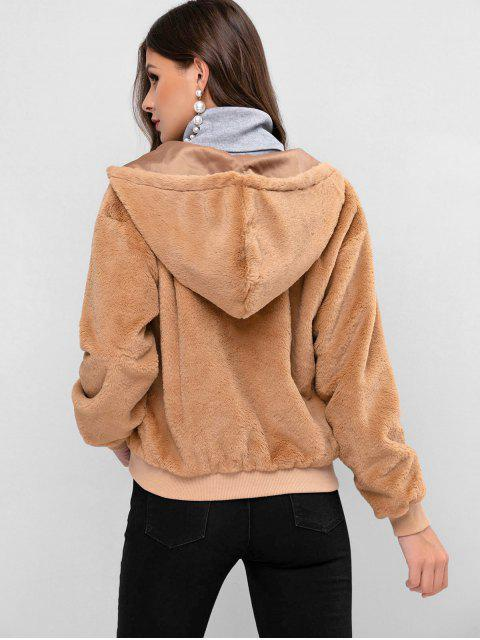 lady ZAFUL Zip Up Faux Fur Solid Hooded Coat - CAMEL BROWN XL Mobile