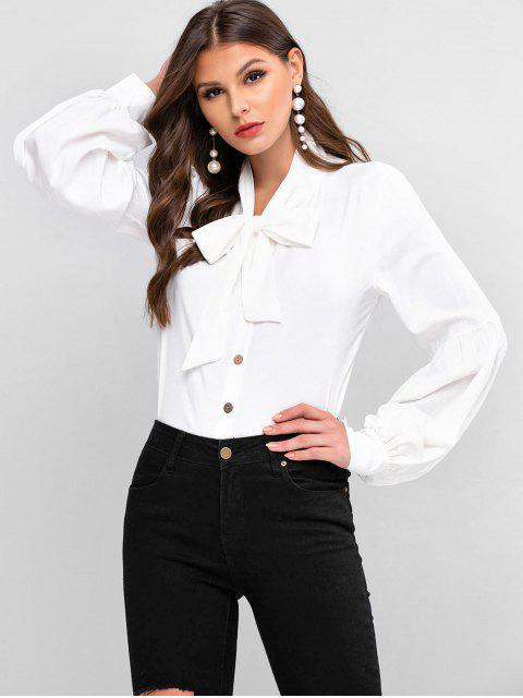 best Bow Tie Collar Lantern Sleeve Shirt - WHITE L Mobile
