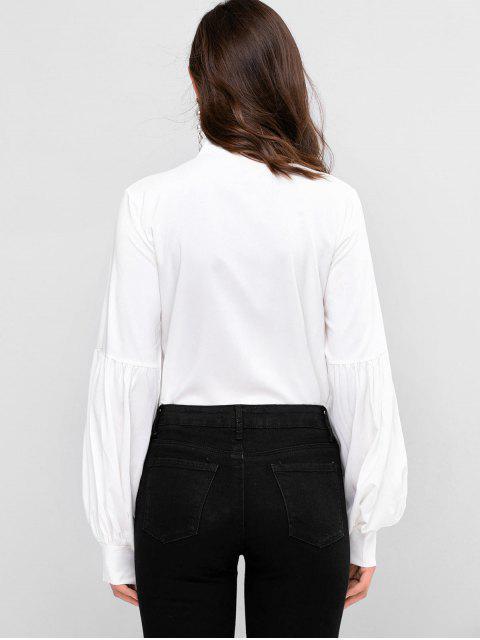shop Bow Tie Collar Lantern Sleeve Shirt - WHITE S Mobile
