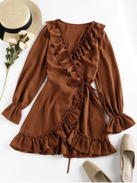 outfit ZAFUL Ruffle Plunging Mini Dress - DARK GOLDENROD M Mobile