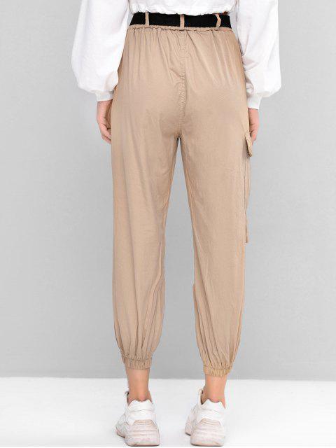 Pantalones Jogger de Cintura Alta con Cinturón y Bolsillo - Caqui Claro L Mobile